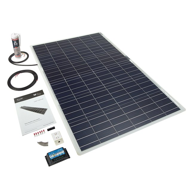 100w Flexi Solar Panel Roof and Deck Top Kit - white rear exit