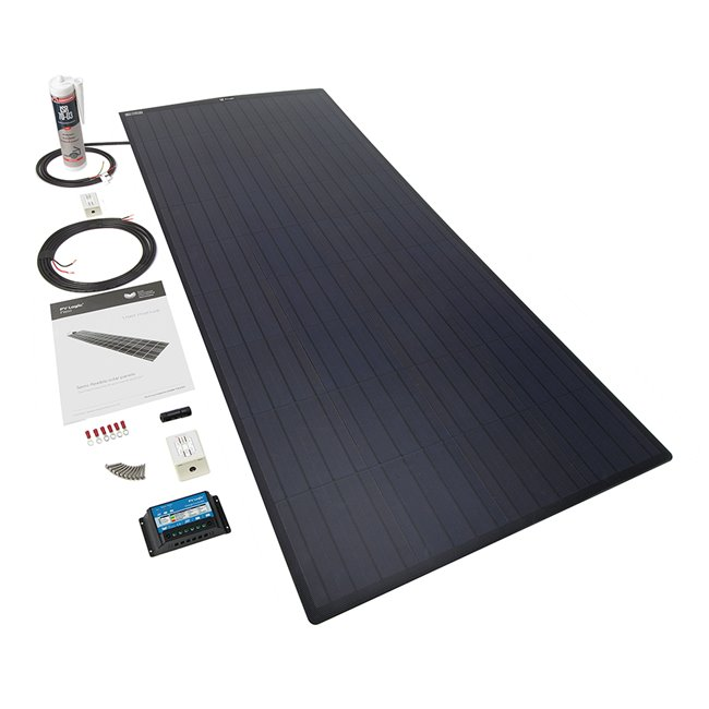 150w Flexi Solar Panel Roof and Deck Top Kit - black rear exit