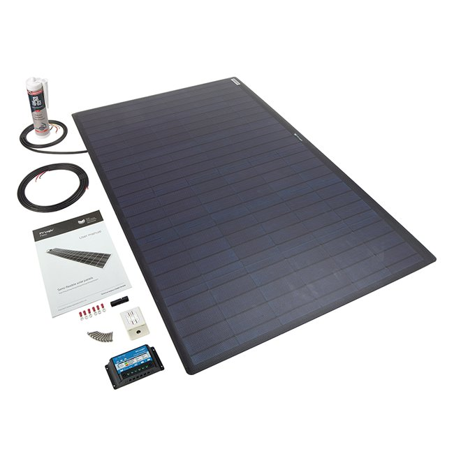 100w Flexi Solar Panel Roof and Deck Top Kit - black rear exit