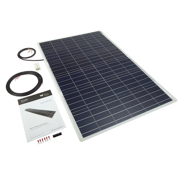 100W Semi Flexible Solar Panel Roof and Deck Top Kit - white, rear exit