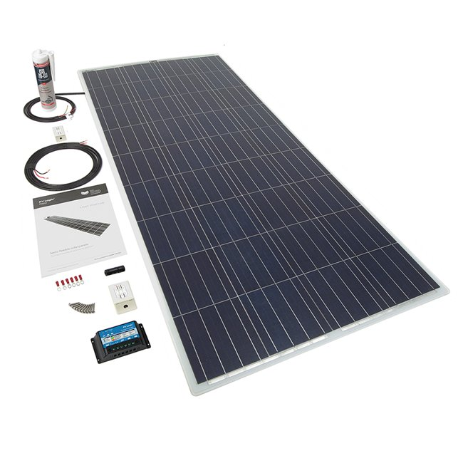 150w Flexi Solar Panel Roof and Deck Top Kit - white rear exit